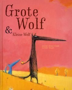 Grote wolf & Kleine wolf. Een van de vele prentenboeken op zoek naar geschikt materiaal voor leencollecties onderwijs.