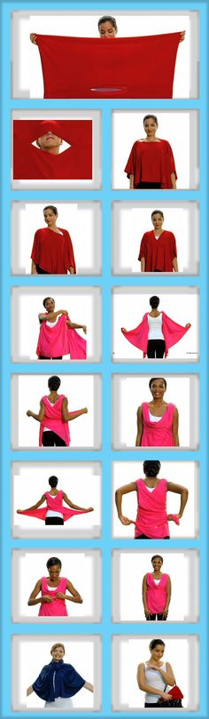 More How To Style #2 with this versatile fabric - makes ponchos, shrugs, scarves, jackets, shirts  See Videos for more how to style http://www.youtube.com/watch?v=Xb_RpUSC1As  For Poncho, fold in half.  Put head through center, can wear at an angle, v at front, sideways.  Make the shirt by wrapping back and snapping at front, then draping neck over snaps.
