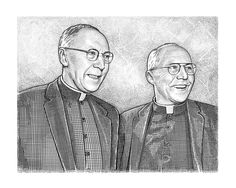 Hedcut group portrait of priests by Ekaterina Shulzhenko. Woodcuts, stipple portraits and illustrations.