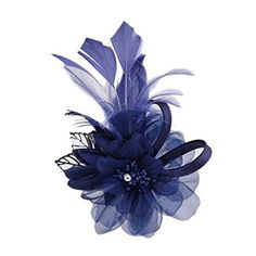 Womens Feather And Cloth Flower Brooches Elegant Pin Brooches Hair Decor Navy * Click image to review more details.(This is an Amazon affiliate link and I receive a commission for the sales)