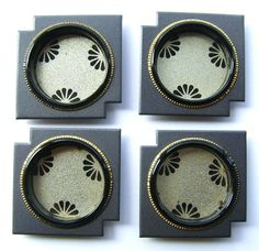 Vintage Japanese Door Pulls Gray Gold  Flowers (A44) Set of 4 Small