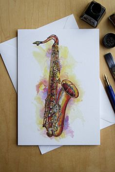 Yamaha Tenor Saxophone pen and ink greetings by JazzdrawingsCoUk Ink Illustrations, Pencil Illustration, Musical Instruments Drawing, Musical Composition, Music Drawings, Happy Paintings, High Art, Coloring Books, Decoration