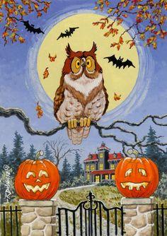 Trick Or Treat Street by Richard De Wolfe ~ Halloween ~ owl ~ bats