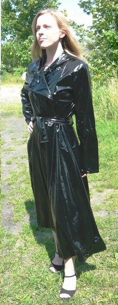 Double breasted black pvc mac
