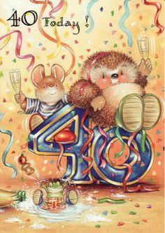 ♥ Country Companions ♥ . Happy Birthday Photos, Happy 2nd Birthday, Happy Birthday Cards, Hedgehog Art, Milestone Birthdays, Whimsical Art, Cross Stitch Patterns, Cute Pictures, Congratulations