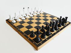 Wooden Chess Set Large Vintage Complete Soviet by SovietLegacy