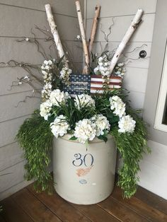 Red wing crock front porch decor spring summer 4th of July