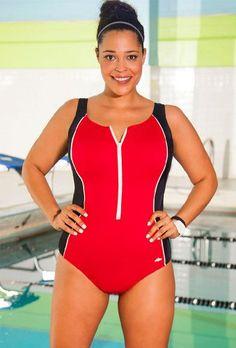 b4392842fd384 Aquabelle Xtra Life   Lycra   Red Zip Front Plus Size Swimsuit Women s  Swimsuit