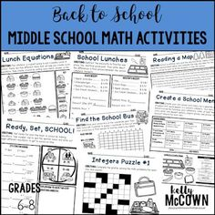Ready for Back to School Math? These math worksheets are perfect for grades 6, 7, 8. Middle School kids love all the fun puzzles and games included. Review equations, coordinate planes, graphing, and much more. Download your math activities today! D School, Middle School, Back To School, Math Lesson Plans, Math Lessons, Teaching Math, Teaching Ideas, Teaching Resources, Math Activities