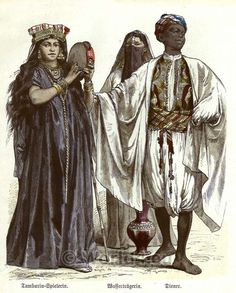 Traditional Egyptian costumes 1850. Tambourine player, water wearer and servant…