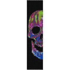 Instant Download Beading Pattern Peyote Stitch Bracelet Neon Skull Seed Bead Cuff