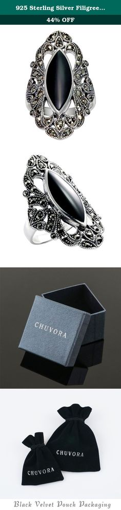 925 Sterling Silver Filigree with Marcasite and Black Onyx Gemstones Ring - Size 9. This piece of jewelry would be a wonderful addition to any collection. About Chuvora Jewelry Chuvora Jewelry is a Mystic Clothing brand based in Palm Coast, Florida. Despite our rapid growth, we have remained loyal to our original hallmarks: Quality and value, ease of ordering, and integrity. Gemstones When present, gemstones may have been treated to enhance properties such as color and durability. See...