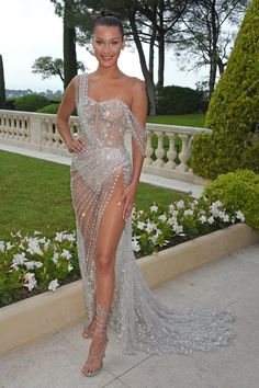bella Hadid at the amfAR Gala at the Hotel du Cap-Eden-Roc in a stunning Ralph & Russo one-shoulder gown