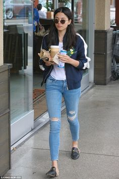 Early morning start: Jessica Gomes opted for a casual chic look while on a breakfast run in West Hollywood on Thursday