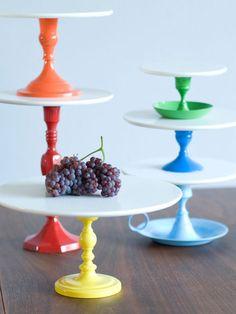 Rainbow Cake Pedestals!