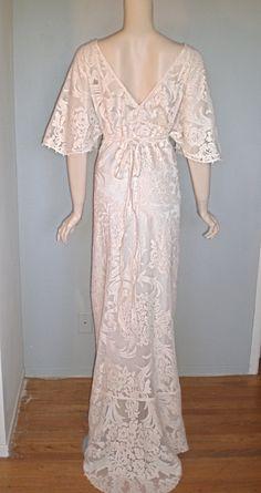 Victorian Blush Cut Work LACE Wedding MAXI Scalloped Train Boho