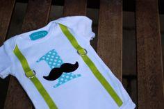 "First Birthday Mustache Shirt Bodysuit Lime Green Aqua Dot Black Baby Boy ""1"" Little Man Mustache Party"