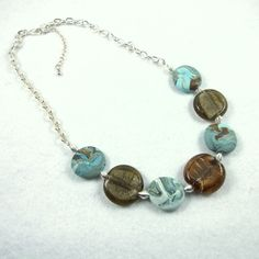 Necklace,  Surf, Blue Clay and Sand coloured Glass £9.95