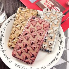 Fashion Plating 3D Heart Phone Cases For Apple iphone 6 6S Case For iPhone 6 Plus 5.5 6S Plus Soft TPU