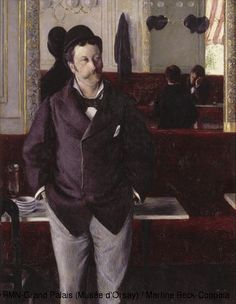 Gustave Caillebotte (1848-1870)  n a Café  1880  Oil on canvas  The choice of clothes for men was particularly limited in the second half of the 19th century. Colour disappeared and was replaced by plain dark shades; woollen cloth replaced velvet, silk and brocade.