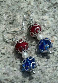 Native Dezines Sneak Peek - Patriotic Earrings - Cut Glass, Glass Pearls and Sterling Silver Plated - $24 Order Here: https://www.facebook.com/Native.Dezines/photos/a.608651159196868.1073741826.127594220635900/677701338958516/?type=3&theater