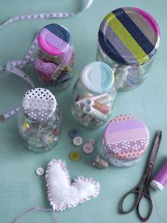 Reciclar frascos para guardar linhas, botões...