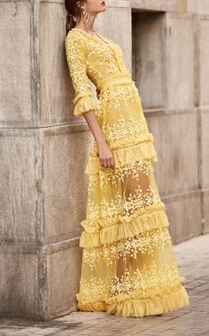 59748c6079 Long V-Neck Dress by COSTARELLOS for Preorder on Moda Operandi Dress  Couture