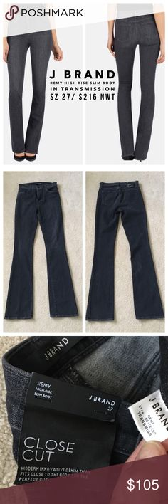 "J Brand👖Remy High-Rise Slim Boot in Transmission BNWT, amazing washed-out black denim (Transmission) lends a worn look to these J Brand boot-cut jeans. Soft, light-stretch denim with classic 4-pocket styling. Button closure and zip fly. Lightweight stretch denim. 92% cotton/6% elastomeric polyester/2% spandex. Wash cold. Made in the USA.Rise: 9in  Inseam: 34in, Leg opening: 16in, waist 13.75"", great stretch! J Brand Jeans Boot Cut"