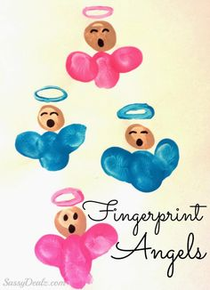 DIY Fingerprint Singing Angel Craft For Kids. Make some cute singing angels out of kids fingerprints! All you need is a piece of paper, blue/pink paint and a black sharpie Preschool Christmas, Diy Christmas Cards, Christmas Crafts For Kids, Christmas Activities, Holiday Crafts, Handmade Christmas, Christmas Angels, Hand Print Christmas Cards, Christmas Sayings
