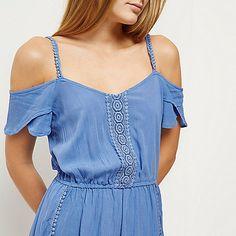 =Ontspannen fit Off-the-shoulder bardot hals korte mouw elastisch taille Pom pom trim