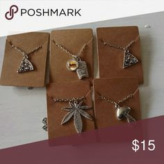 Hippie style fashion jewelry lot mushroom necklace All 5 necklaces for this listing. 2 slices of pizza. 1 cheeseburger with fries. 1 mushroom and one pot leaf! Jewelry Necklaces