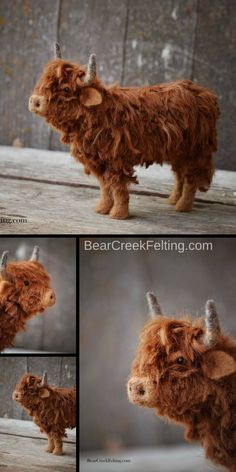 Needle Felted Scottish Highland fiber art sculpture handmade by Teresa Perleberg of Bear Creek Felting.