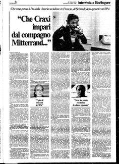 """""""Che Craxi impari dal compagno Mitterand..."""", Enrico Berlinguer #Craxi #Mitterand"""