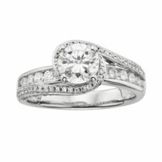 Round-Cut IGL Certified Diamond Swirl Engagement Ring in 14k White Gold (3/4 ct. T.W.)