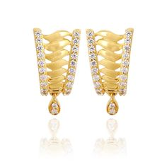 Earrings | 22KT Twisted Dew Drop Gold Earrings | GRT Jewellers