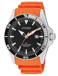 Montre Citizen Promaster Eco-Drive BN0100-18E, fonction date, chronographe, lunette rotative noire et bracelet caoutchouc orange.