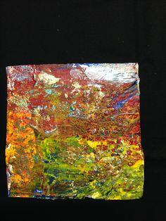 Mixmedia acrylverf Oefening met kleuren, effecten