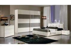 Chambre Adulte Design DOSSONE, coloris blanc et fango laqué, Chambre adulte complète - HcommeHome