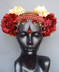 Red & Ivory Flower Headpiece by MissGDesignsShop on Etsy, $150.00