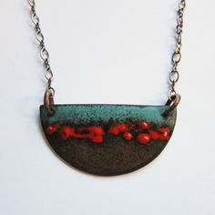 Long Red and Turquoise Enamel Half Moon Pendant - Hand-painted Bohemian Jewelry