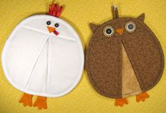 SALE-PDF ePattern-Chicken and Owl Pot Holders-Pot Pinchers, Home Decor, Chicken Home Decor, Owl Home Decor by RepeatingPatterns Sewing Patterns Free, Free Sewing, Sewing Tutorials, Quilt Patterns, Free Pattern, Pattern Sewing, Quilting Projects, Craft Projects, Sewing Projects
