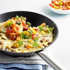 Sunday brunch is about to get a lot more interesting--and delicious! Just add this easy chicken and egg frittata recipe. Fresh herbs, chopped cantaloupe, and spicy cheese take this chicken frittata to the next level. Bhg Recipes, Brunch Recipes, Cooking Recipes, Brunch Ideas, Meal Recipes, Recipies, Healthy Recipes, Tomato Salsa Recipe, Egg Recipes For Breakfast