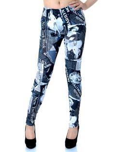 b21631e40a197 Anna-Kaci Small Fit Blue Grey Marilyn Monroe Inspire New York Newspaper  Leggings Anna-