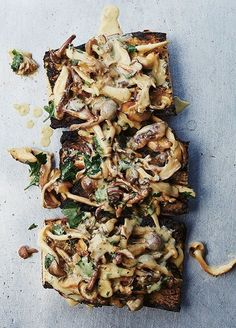 The famous mushroom toast recipe from inside Gjelina Venice's new Gjelina Cookbook. Absolutely delicious, get the recipe. Healthy Recipes, Vegetarian Recipes, Cooking Recipes, Top Recipes, Sandwiches, Bruschetta, Mushroom Toast, Mushroom Recipes, Food For Thought