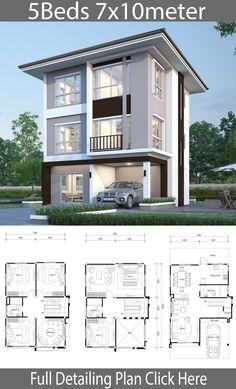 3 Storey House Plans Fresh House Design Plan 7 with 5 Bedrooms Modern House Floor Plans, Home Design Floor Plans, Home Building Design, Building A House, House Plans, Building Ideas, Building Plans, 3 Storey House Design, House Front Design