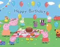 Peppa Pig Personalize Printed Birthday Backdrop Banner Age in Peppa Pig Happy Birthday, Happy Birthday Name, Pig Birthday, Peppa Pig Images, Cumple Peppa Pig, Peppa Pig Family, Personalized Birthday Banners, Birthday Backdrop, Pig Party