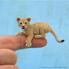 Miniature 1:12 scale African Lion cub sculpture of BeeSputty polymer clay & applied alpaca fibers.