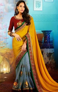 Picture of Contemporary Gray and Yellow Color Embroidered Party Wear Saree