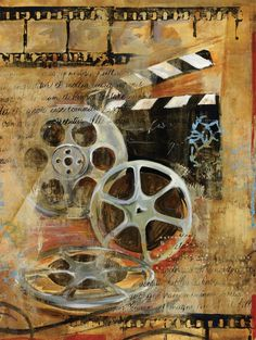 Old antique movie reels; painted over can still dee details; camera film detail; black and white movie prop; could also do with pic of old camera and film dd