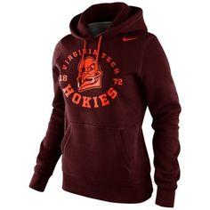 Nike Virginia Tech Hokies Ladies School Stamp Pullover Hoodie - Maroon